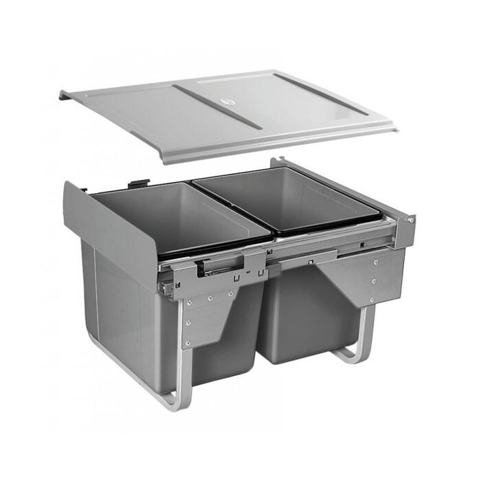 Segregator na śmieci niski 2 x 15 L, do szafki 450mm