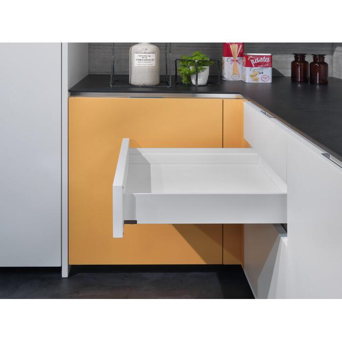 Zestaw - Szuflada podpiekarnikowa, dwuścienna LineaBox, 550mm, wys.77mm, Biała