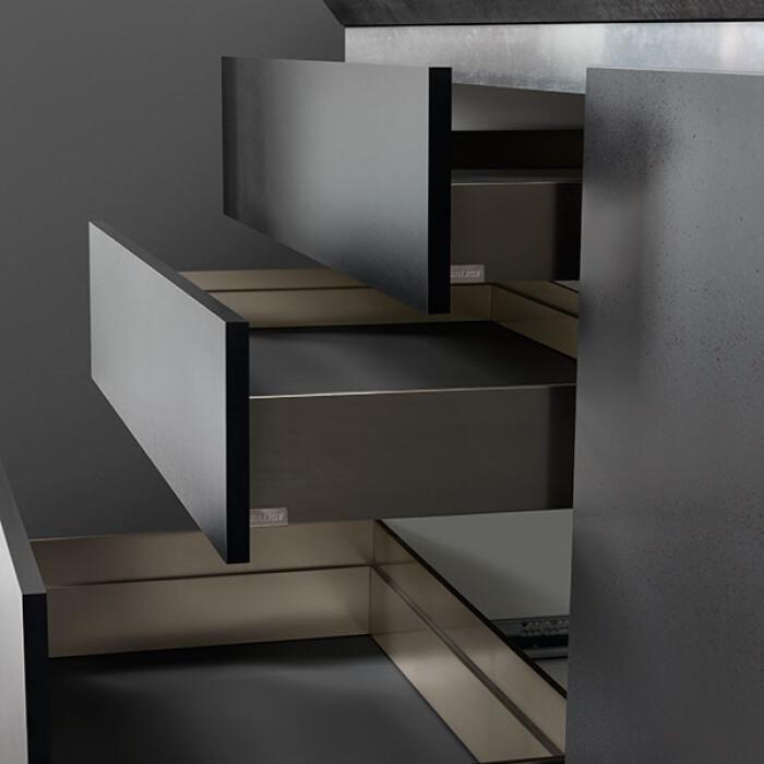 Zestaw - Szuflada podpiekarnikowa, dwuścienna LineaBox, 550mm, wys.77mm, Titanium
