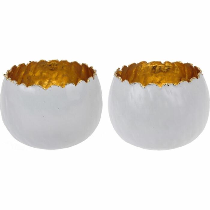 Świecznik 11 cm metalowy, biały, A04310050