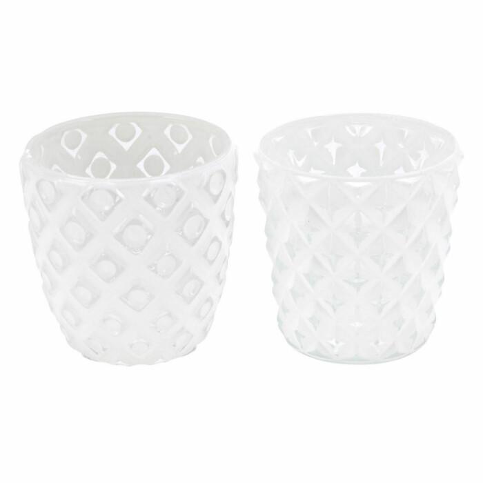 Świecznik szklany, biały, ABT591050