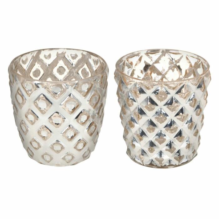 Świecznik szklany, różowy, ABT591030