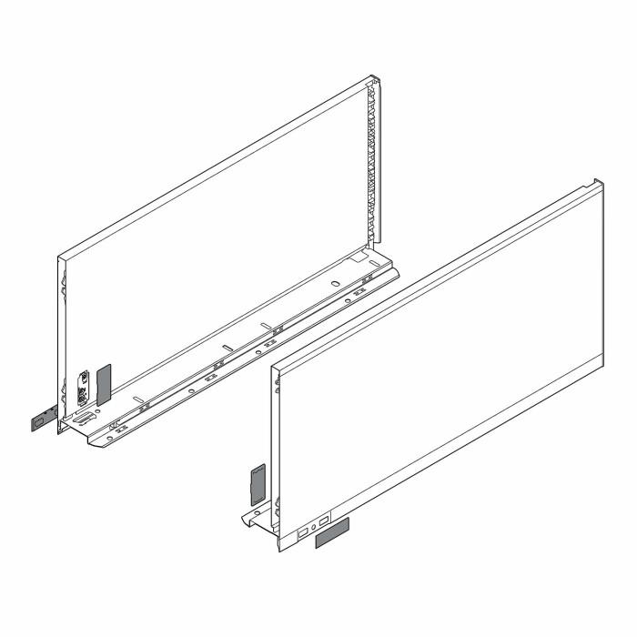 Komplet boków szuflady LEGRABOX P/L, L-550, Czarny, F (241,0 mm)