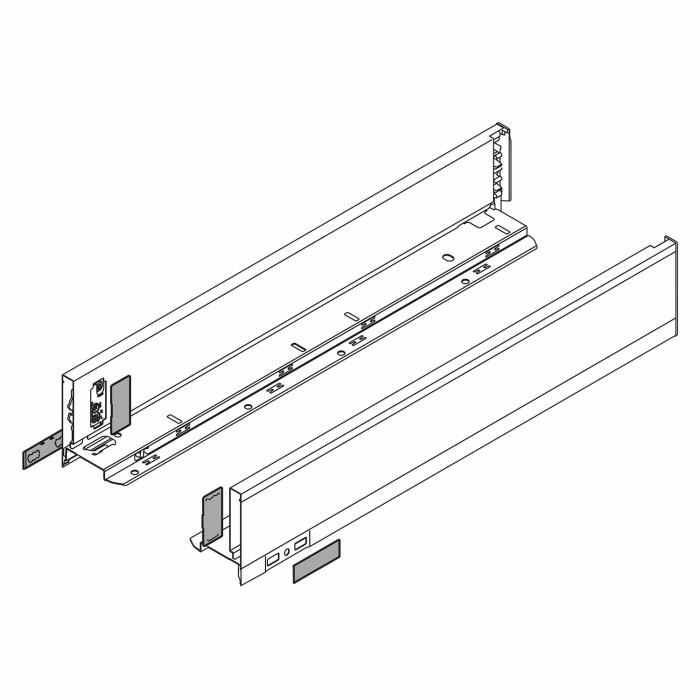 Komplet boków szuflady LEGRABOX P/L, L-350, Antracyt , wys. M (90,5 mm)