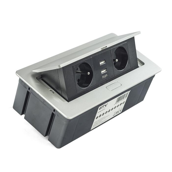 Przedłużacz biurkowy SOFT,wpuszczany, 2 gniazda z uziemieniem + 2XUSB, aluminium