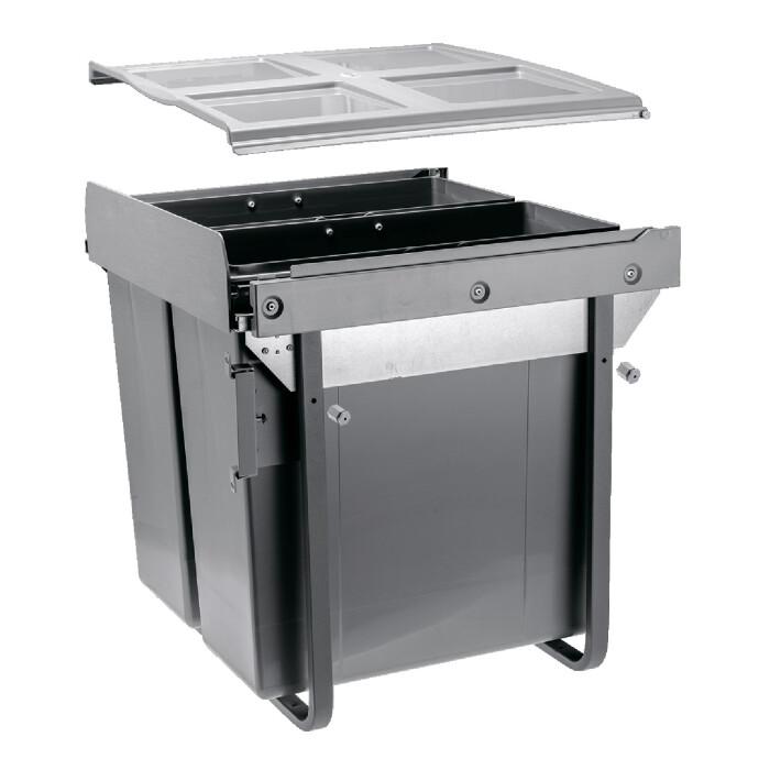 Segregator na śmieci 2 x 34 L z mocowaniem FRONTU, do szafki 60-tki
