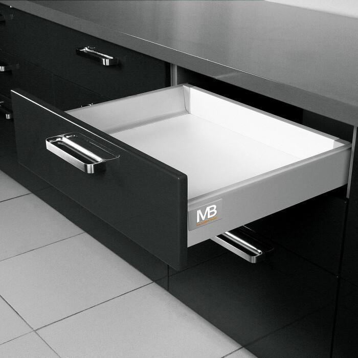 Szuflada ModernBox 500 mm, niska H84, srebrna