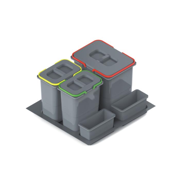 Pojemnik na odpady PRACTICO do szafki 60-tki, 2X7L+1X15L