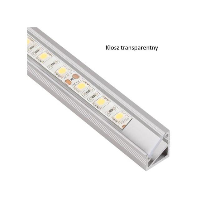 Profil LED Triline mini kątowy, aluminiowy, 3mb, klosz transparentny