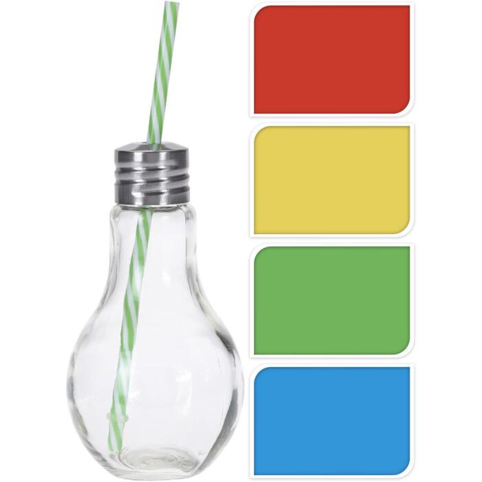 Szklanka ze słomką w kształcie żarówki, 4 kolory